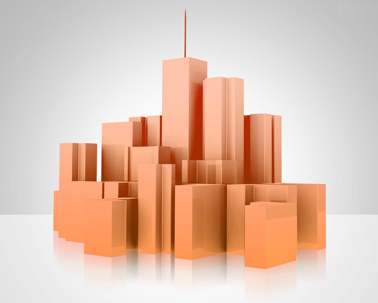3D City Model PPT Backgrounds