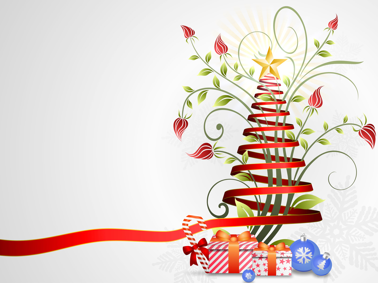 Floral ribbon christmas tree PPT Backgrounds