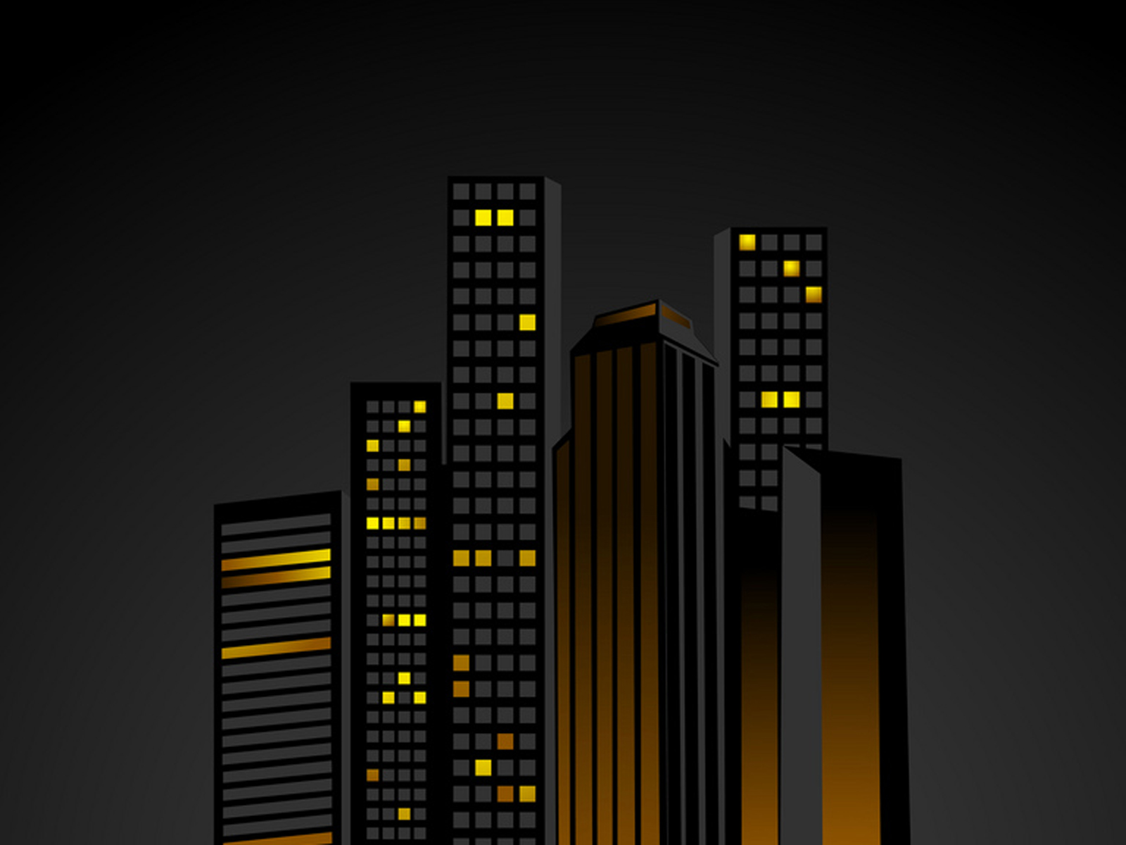 Night time city with sky scrapers offices and appartments PPT Backgrounds