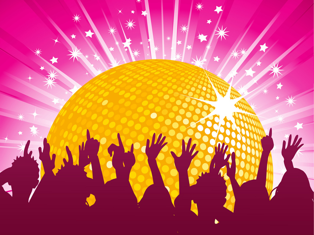 Orange disco ball and crowd party PPT Backgrounds