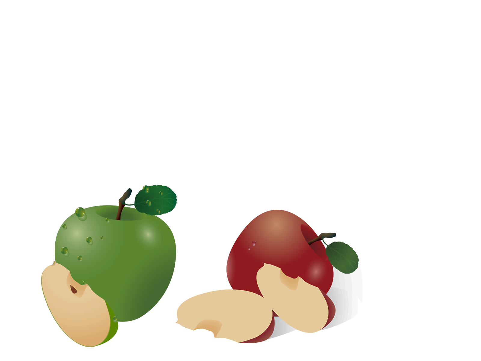 Red and green apple PPT Backgrounds