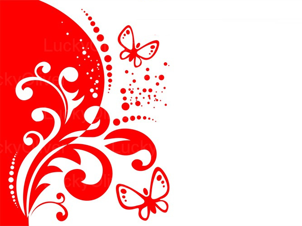 Red decor and butterflies PPT Backgrounds