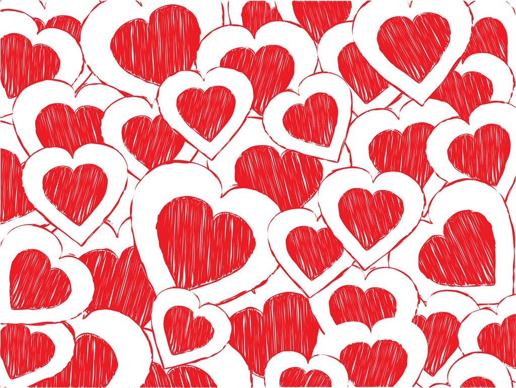 Red doodled valentine heart PPT Backgrounds