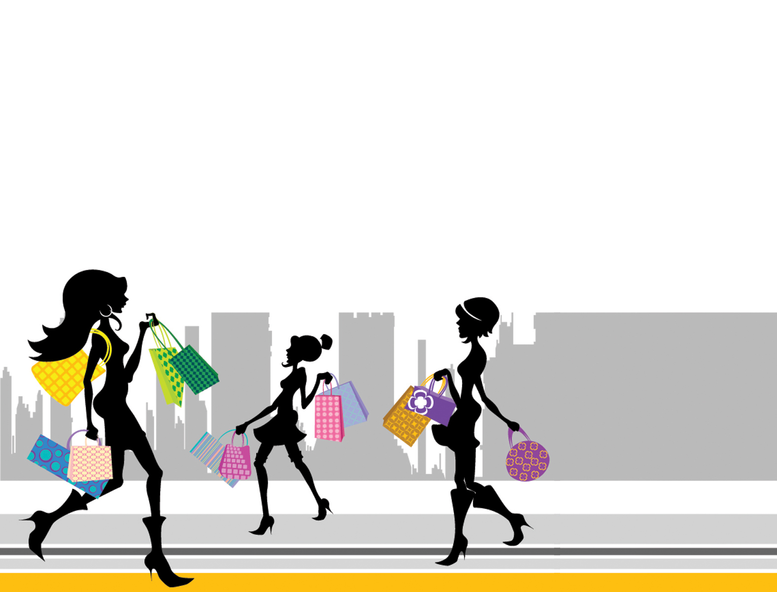 Shopping Girl Silhouette PPT Backgrounds