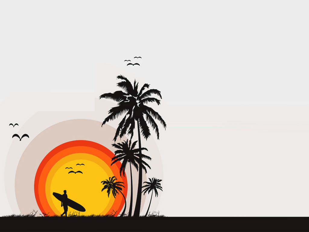 Silhoutte tropical beach PPT Backgrounds
