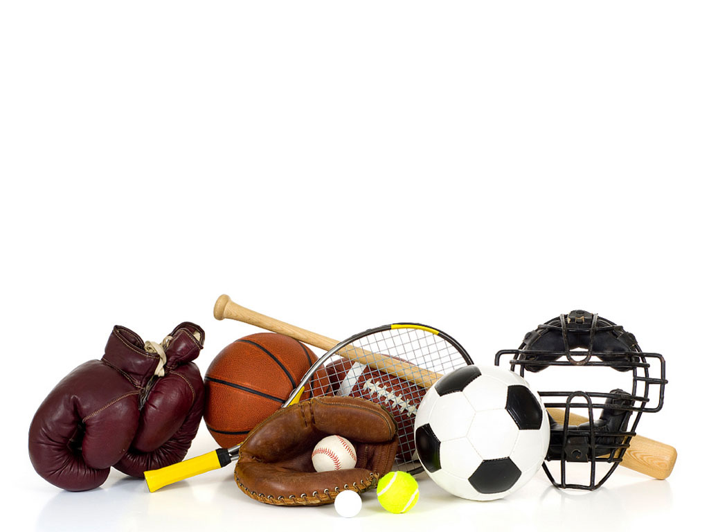 Sports equipment on white PPT Backgrounds