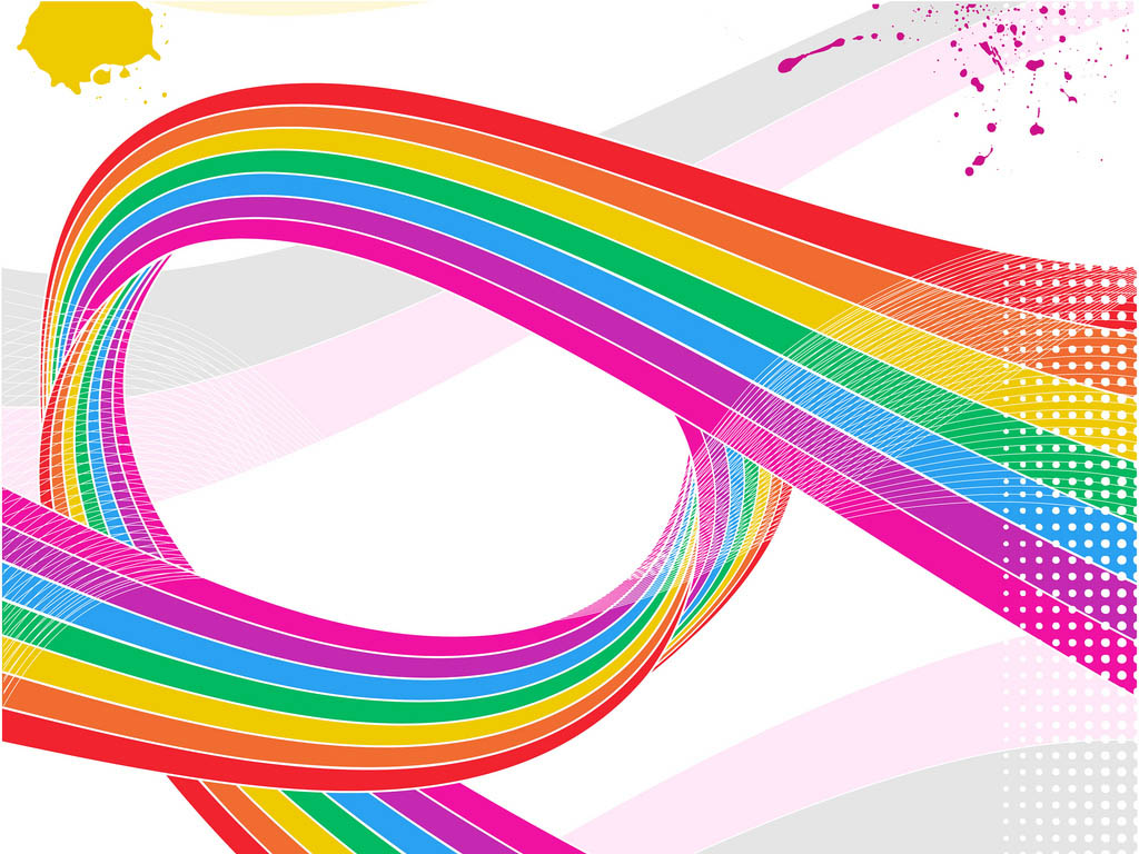 Swriling rainbow ribbon with half tone pattern and paint splats PPT Backgrounds