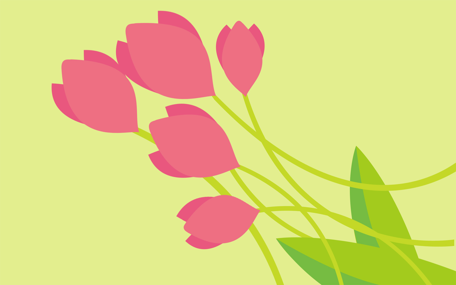 Tulipa Flowers on Yellow PPT Backgrounds