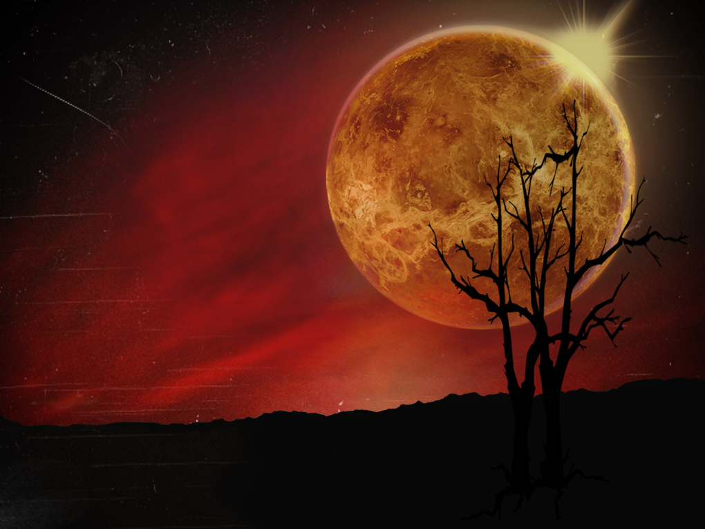Venusian sunset dark PPT Backgrounds