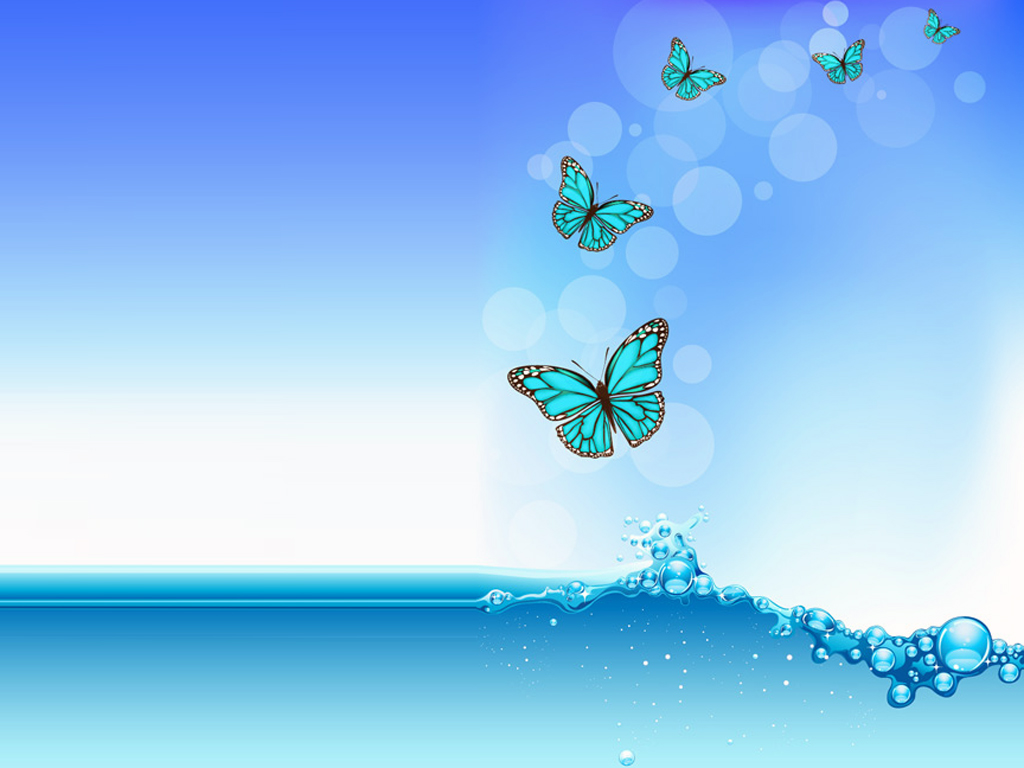 Water wave with butterfly PPT Backgrounds
