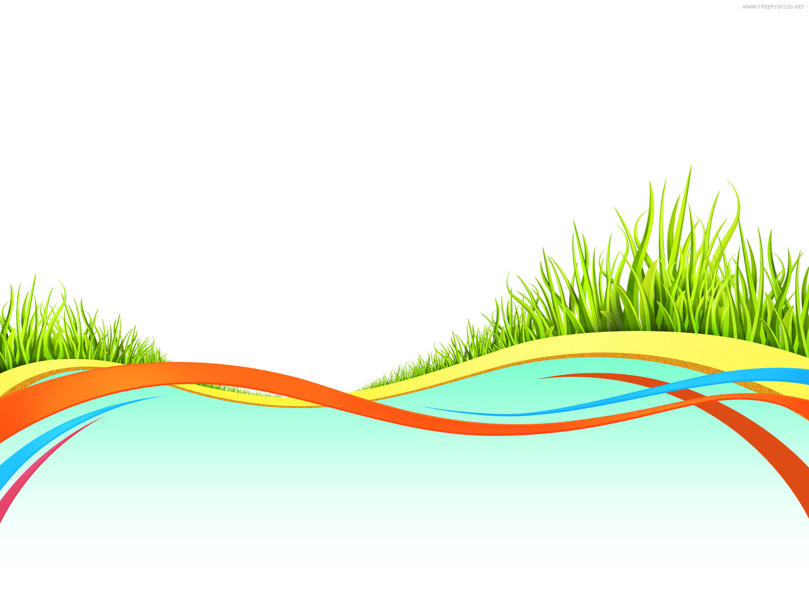 Wave backgrounds with Grass Elements PPT Backgrounds