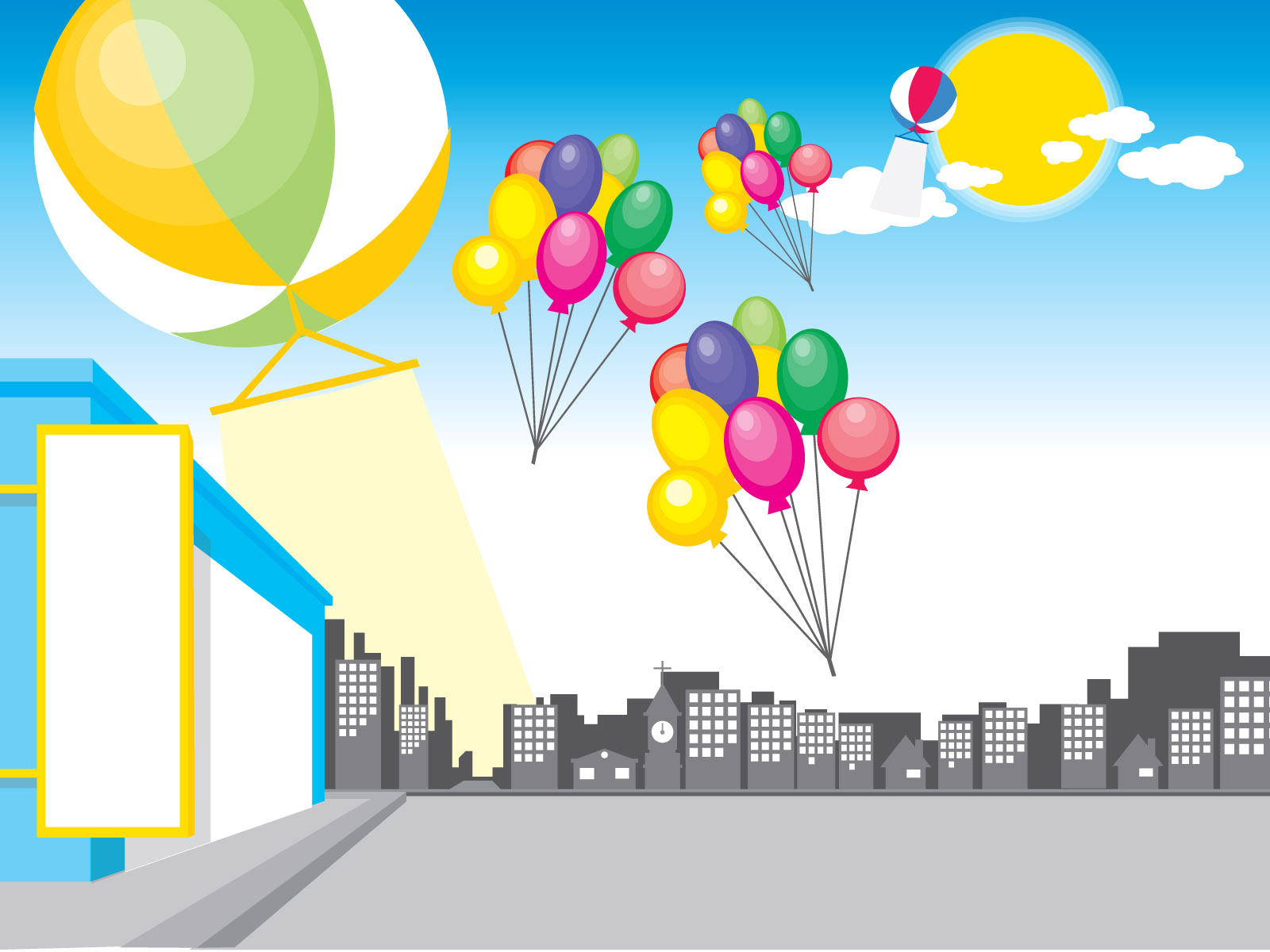 Balloons and city design PPT Backgrounds