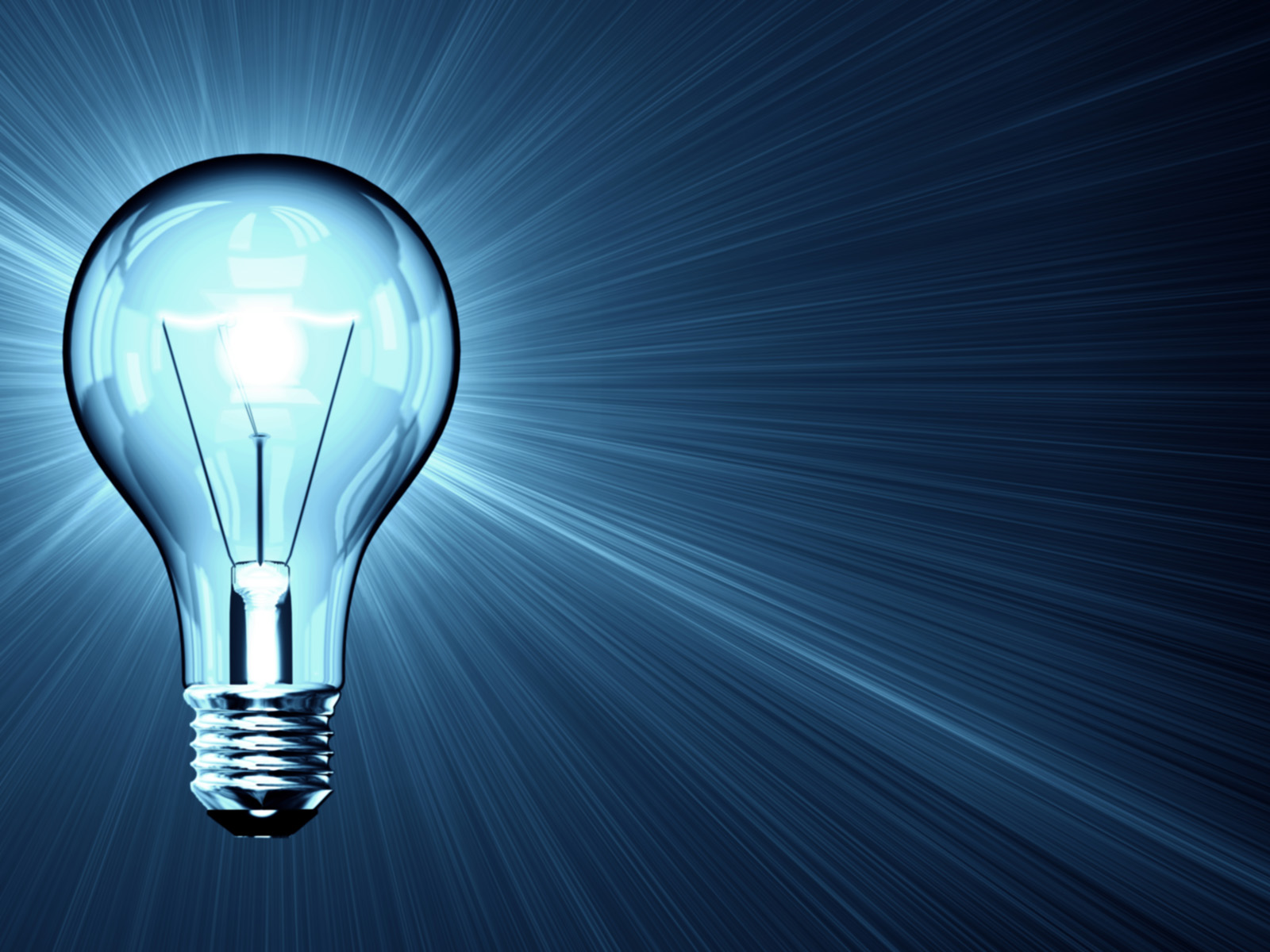 Blue Bulb Light PPT Backgrounds