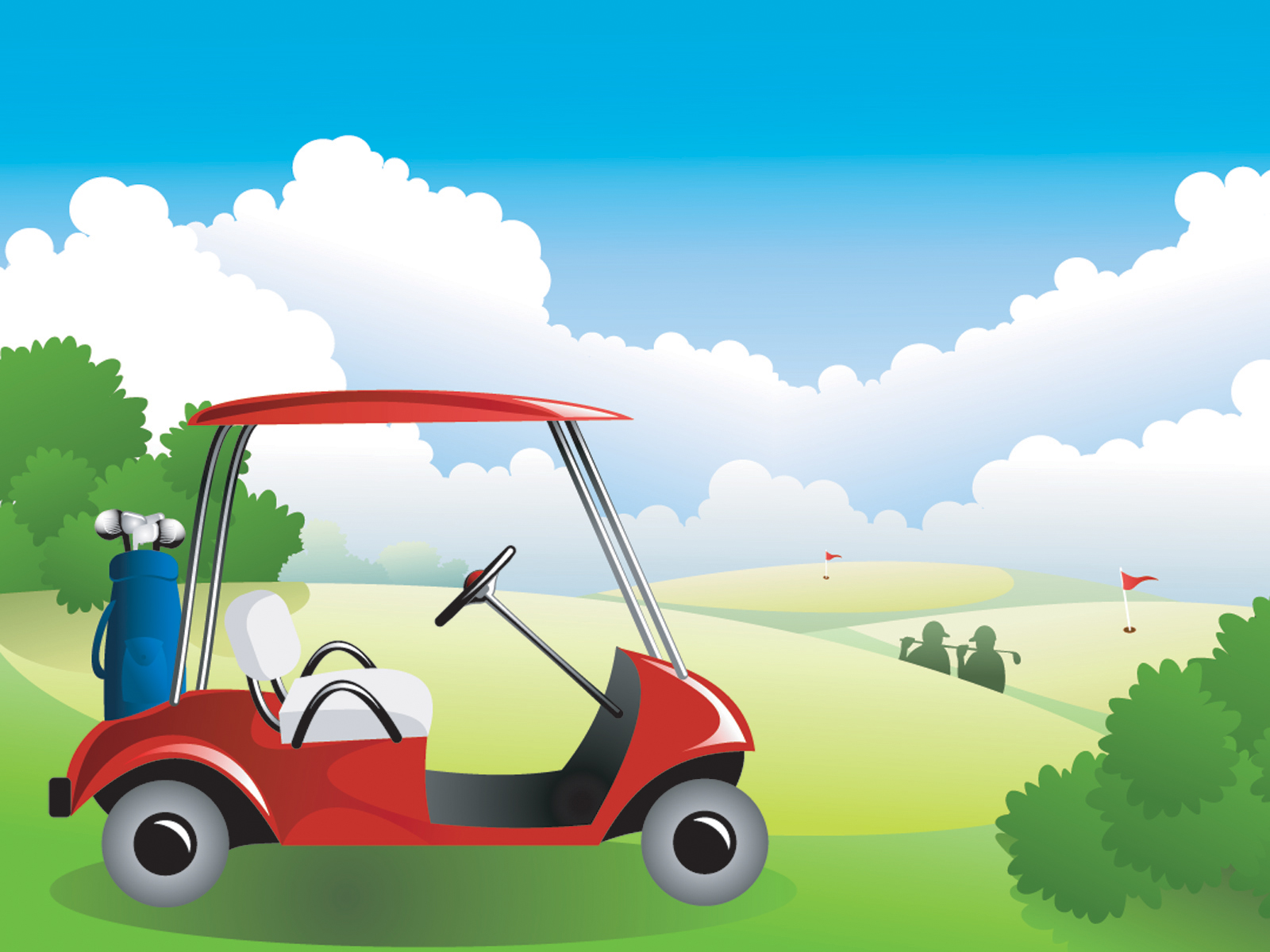 Blue Sky Golf Vector PPT Backgrounds