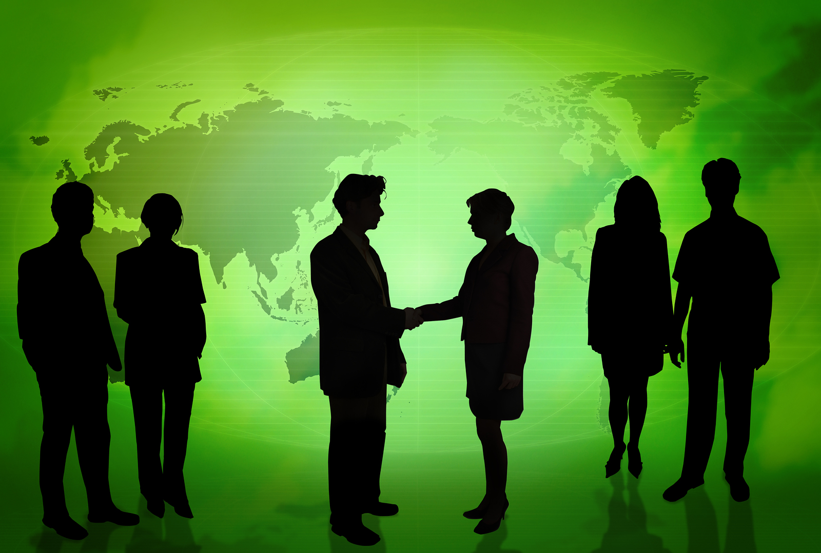 Business people in front Green map PPT Backgrounds