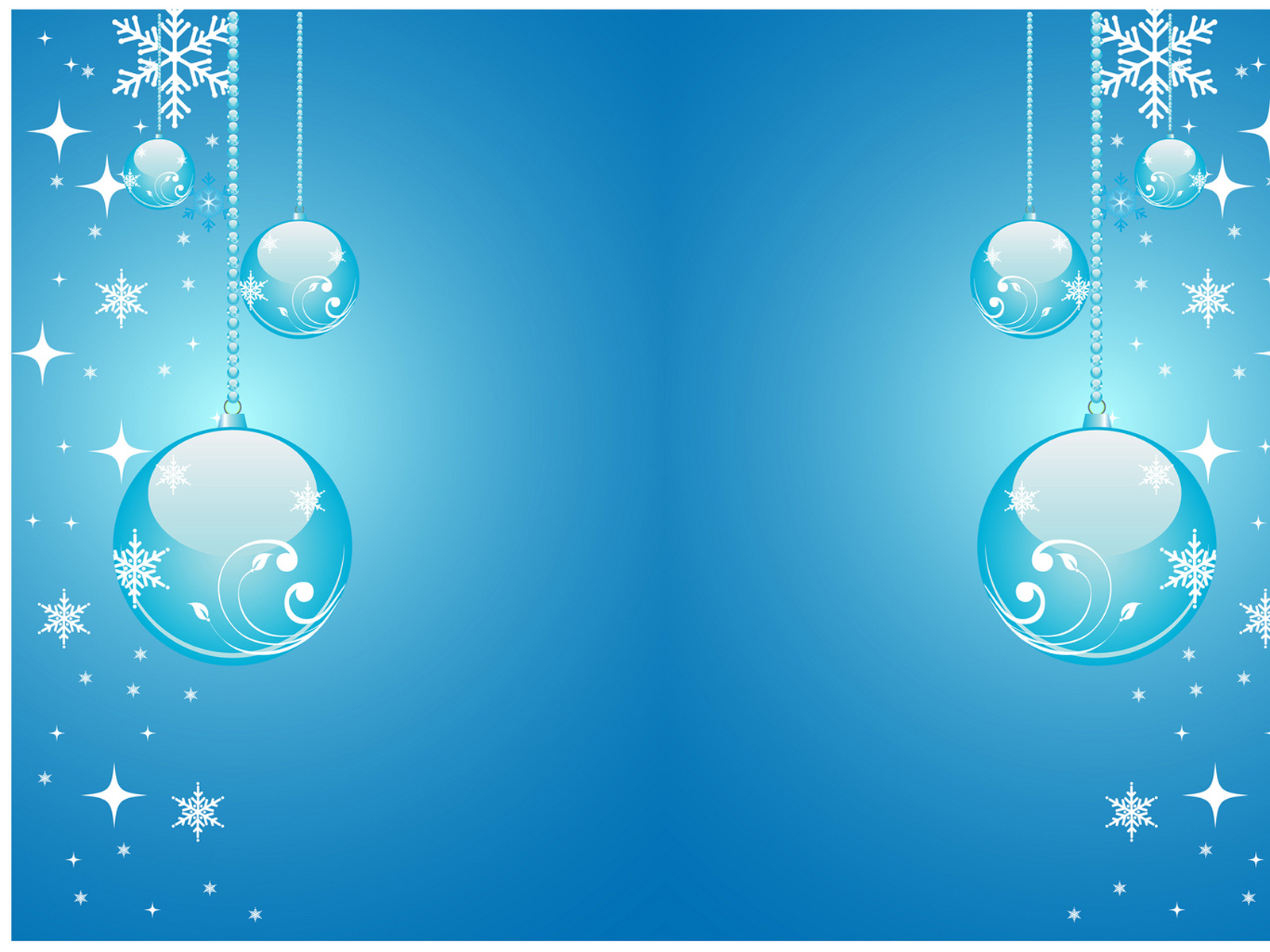 Christmas Stars and balls blue PPT Backgrounds