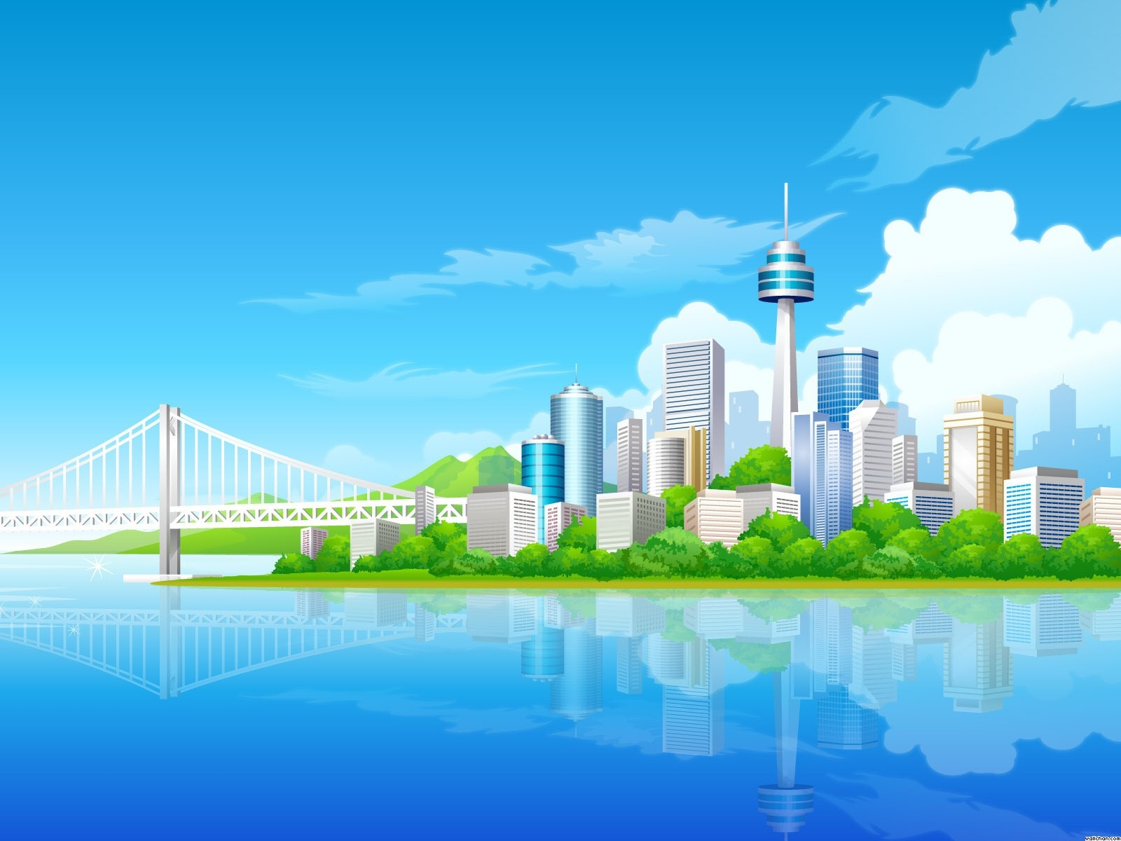 City Building Vector PPT Backgrounds