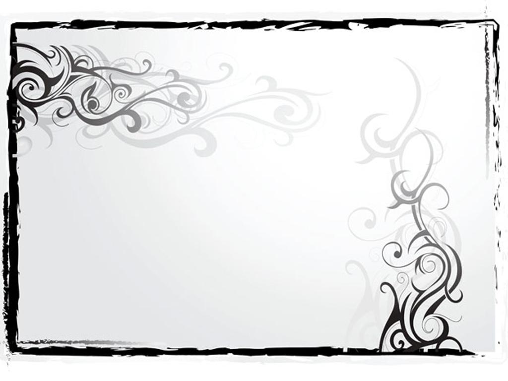 Floral black border, frame PPT Backgrounds