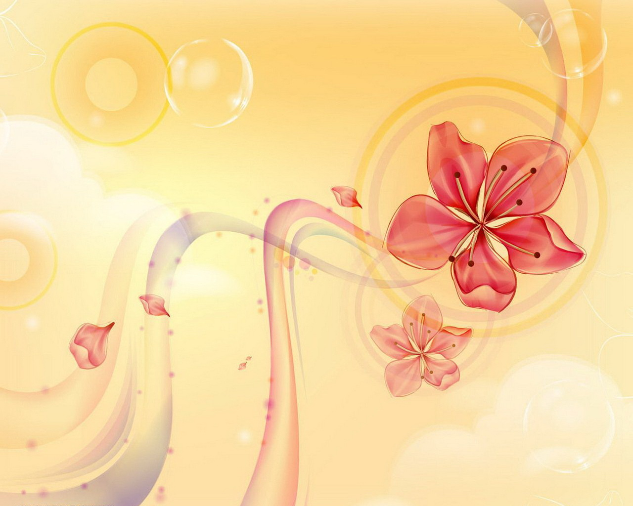 flowers lily, yellow petals PPT Backgrounds