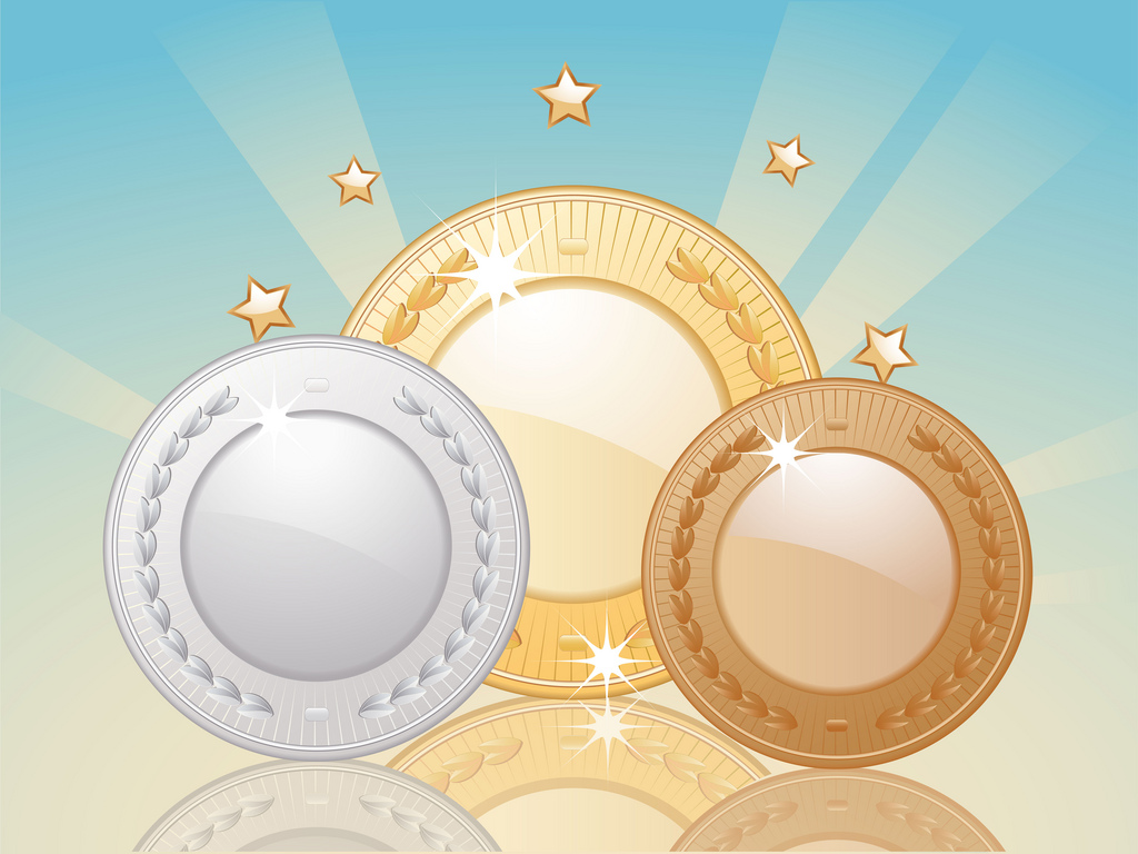 Gold silver and bronze reflected medals on a starburst background with gold stars PPT Backgrounds