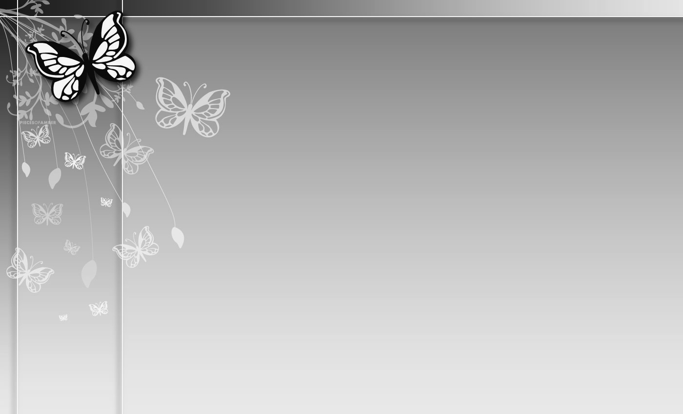 Grey Butterfly Flower PPT Backgrounds