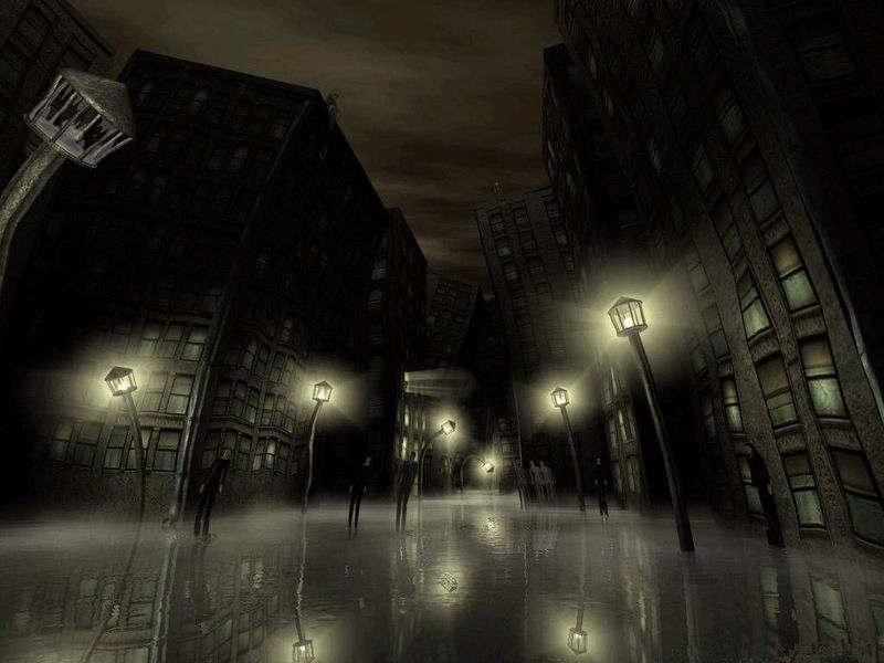 Hand-painted street at night PPT Backgrounds