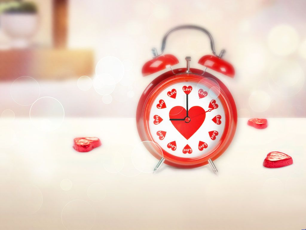 Love alarm clock slide image PPT Backgrounds