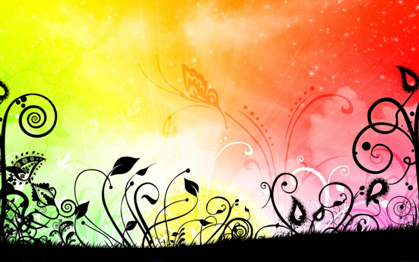 Rainbow Flowers PPT Background Background for Powerpoint Program