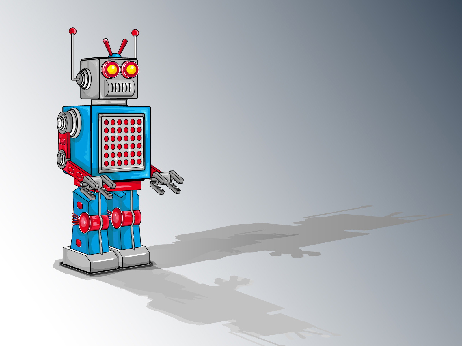 Red Blue Robot Machine PPT Backgrounds