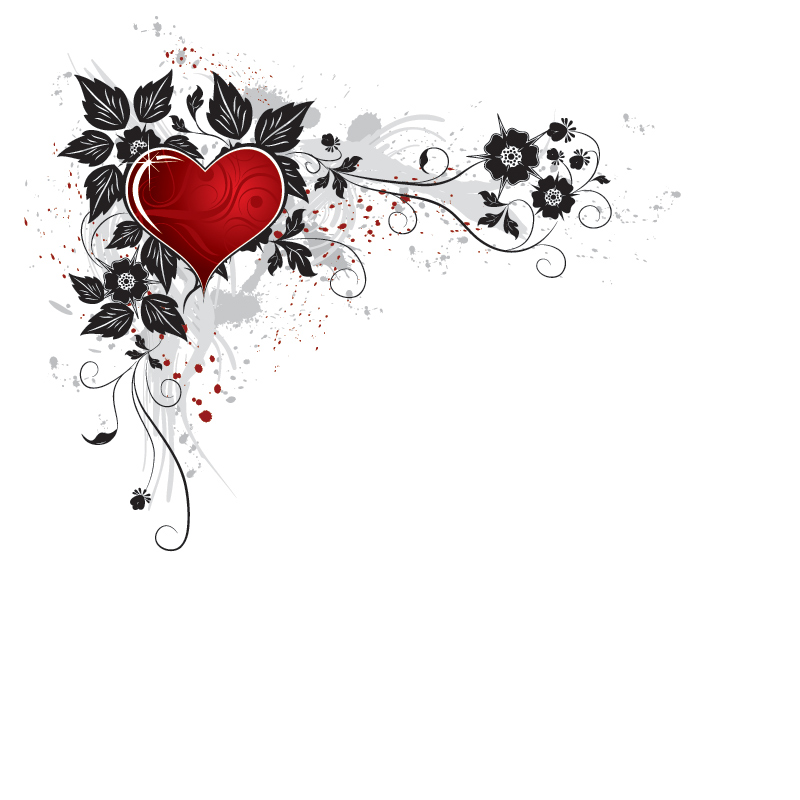 Red Heart Flower PPT Backgrounds