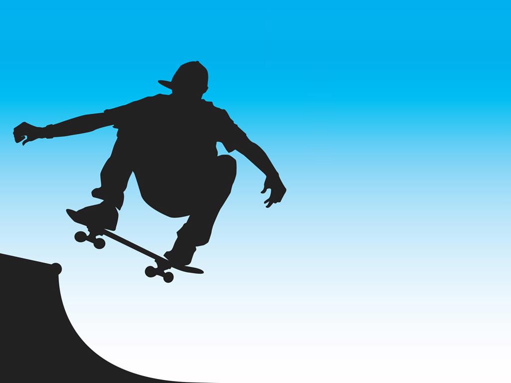 Skater front side vector PPT Backgrounds