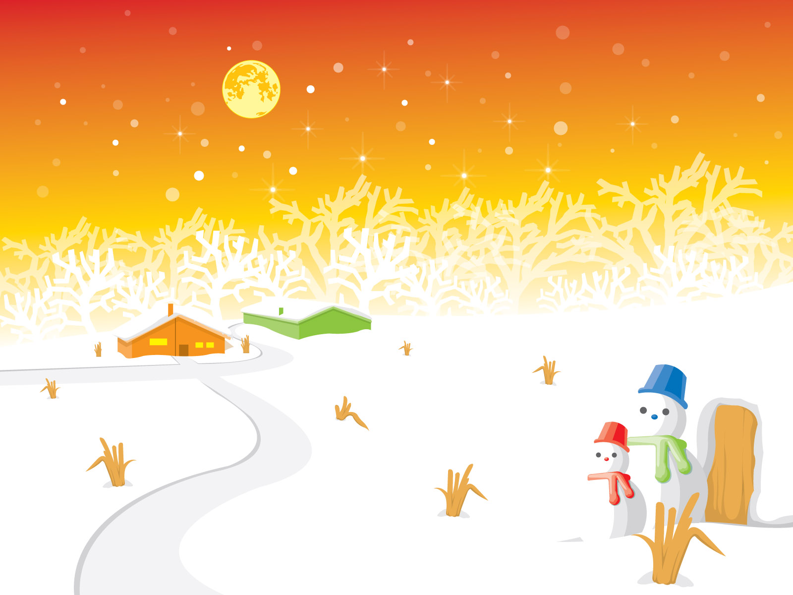 Snowman landscape holidays PPT Backgrounds