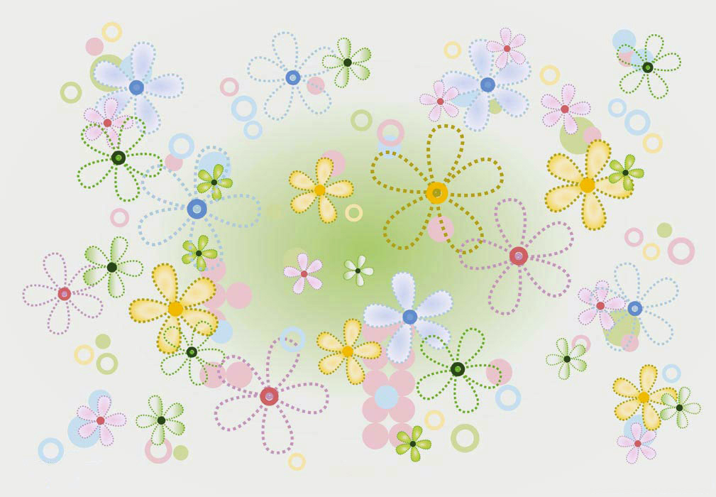 Stitch flowers PPT Backgrounds