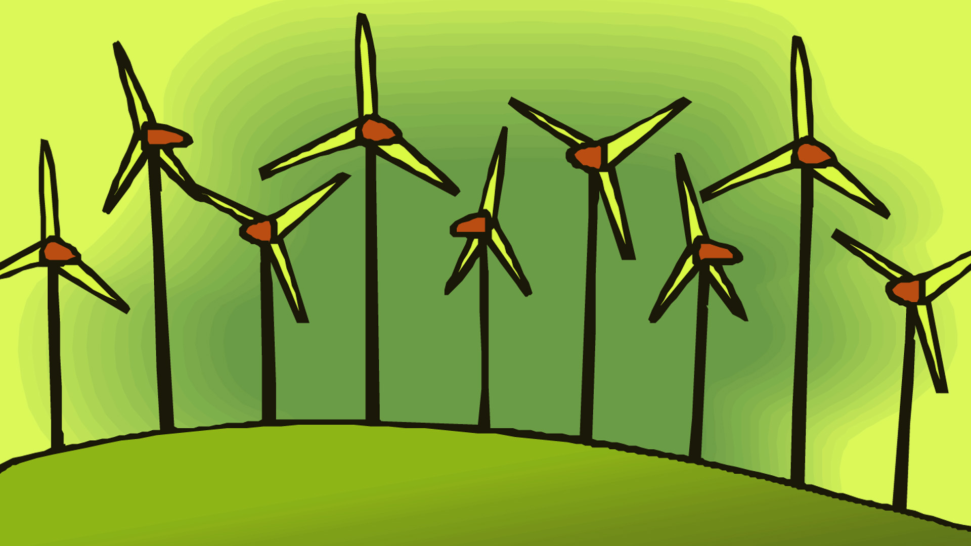 Green Turbines PPT Backgrounds
