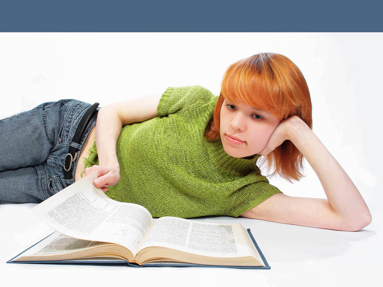 Young student girl read the book PPT Backgrounds