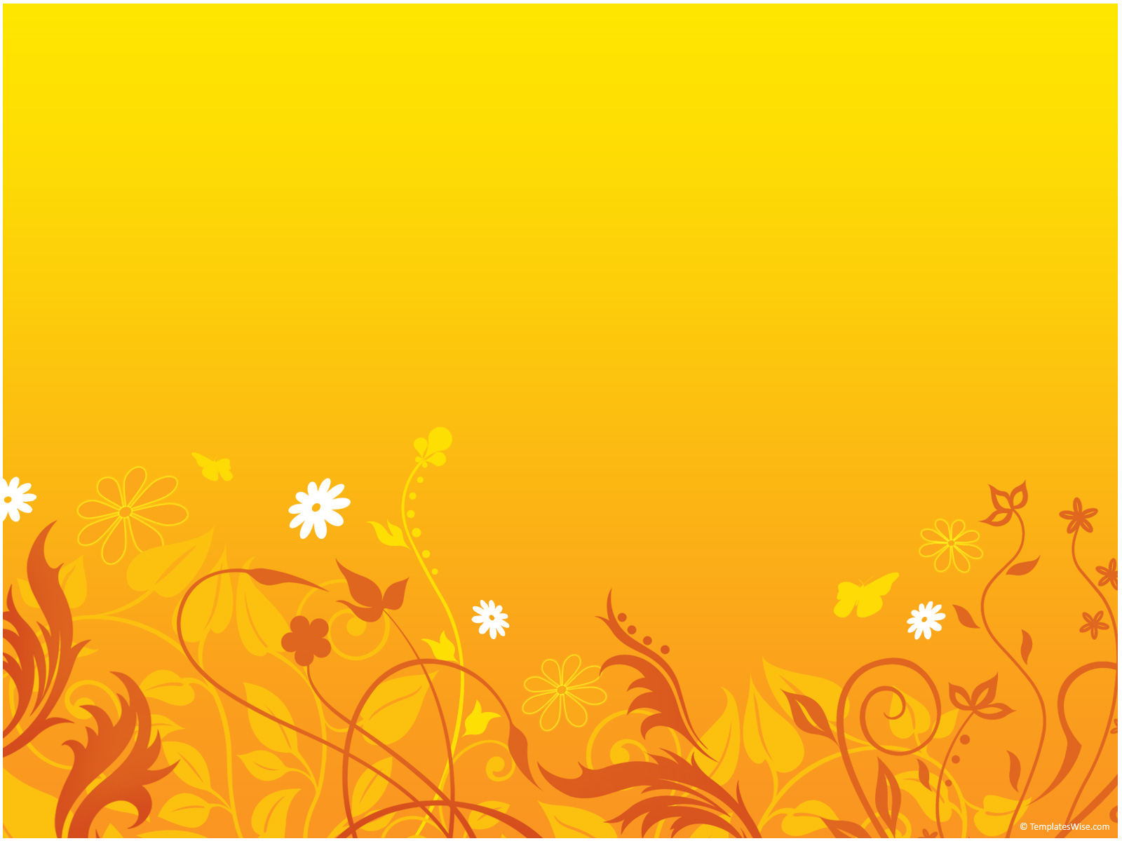 Free Orange Floral PPT Template Template for Powerpoint Program