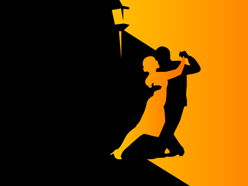 Woman and man dance PPT templates