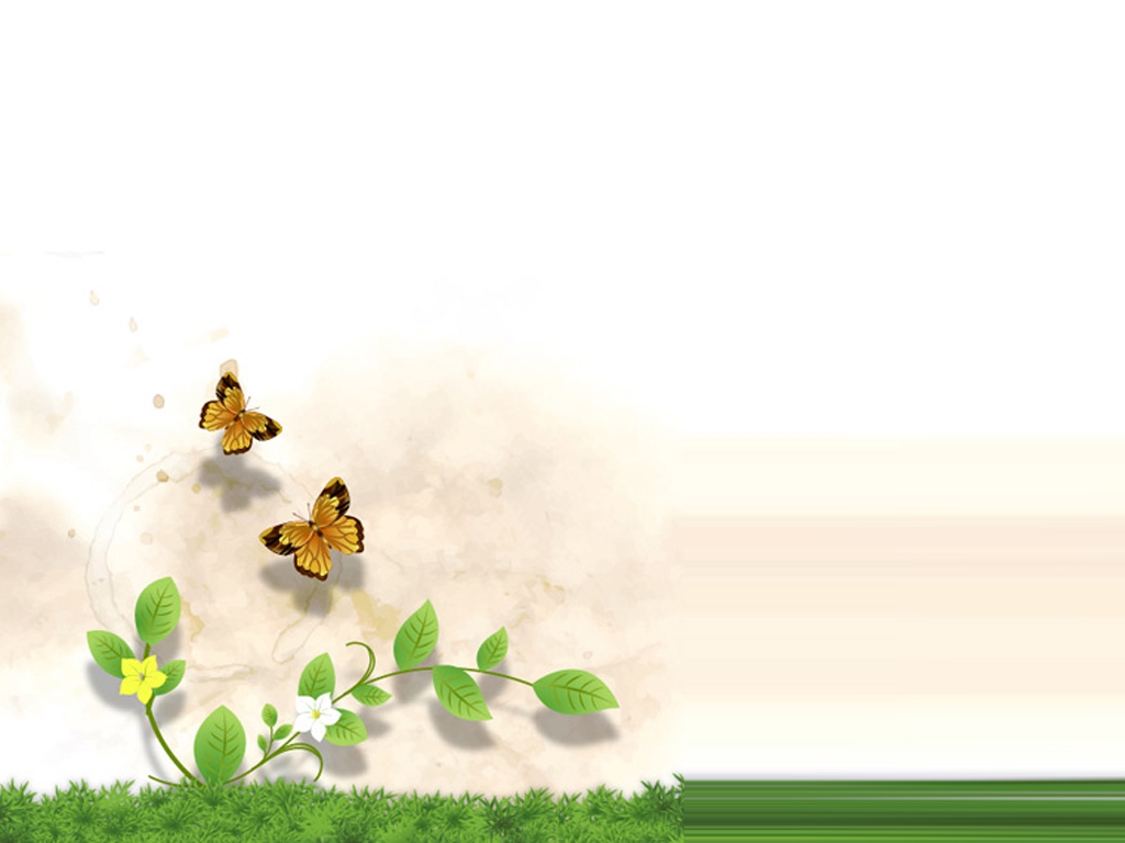 Grass and Flower with butterfly PPT Backgrounds