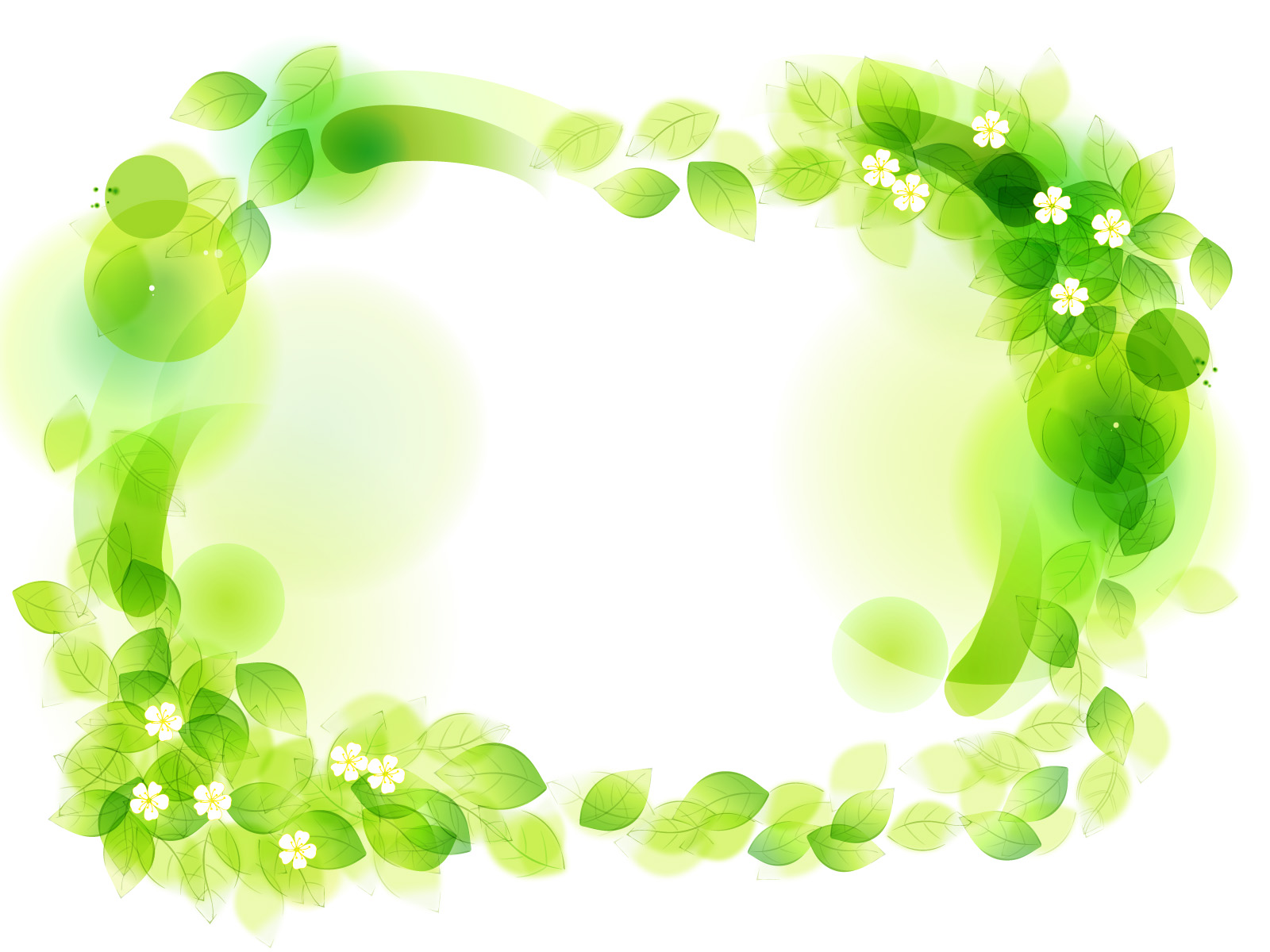 Green Floral Frame Powerpoint Template PPT Backgrounds