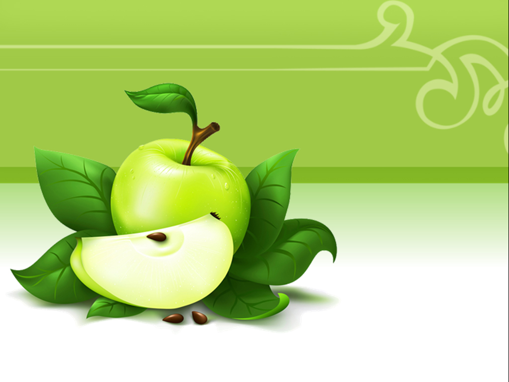Green Apple fruit PPT Backgrounds