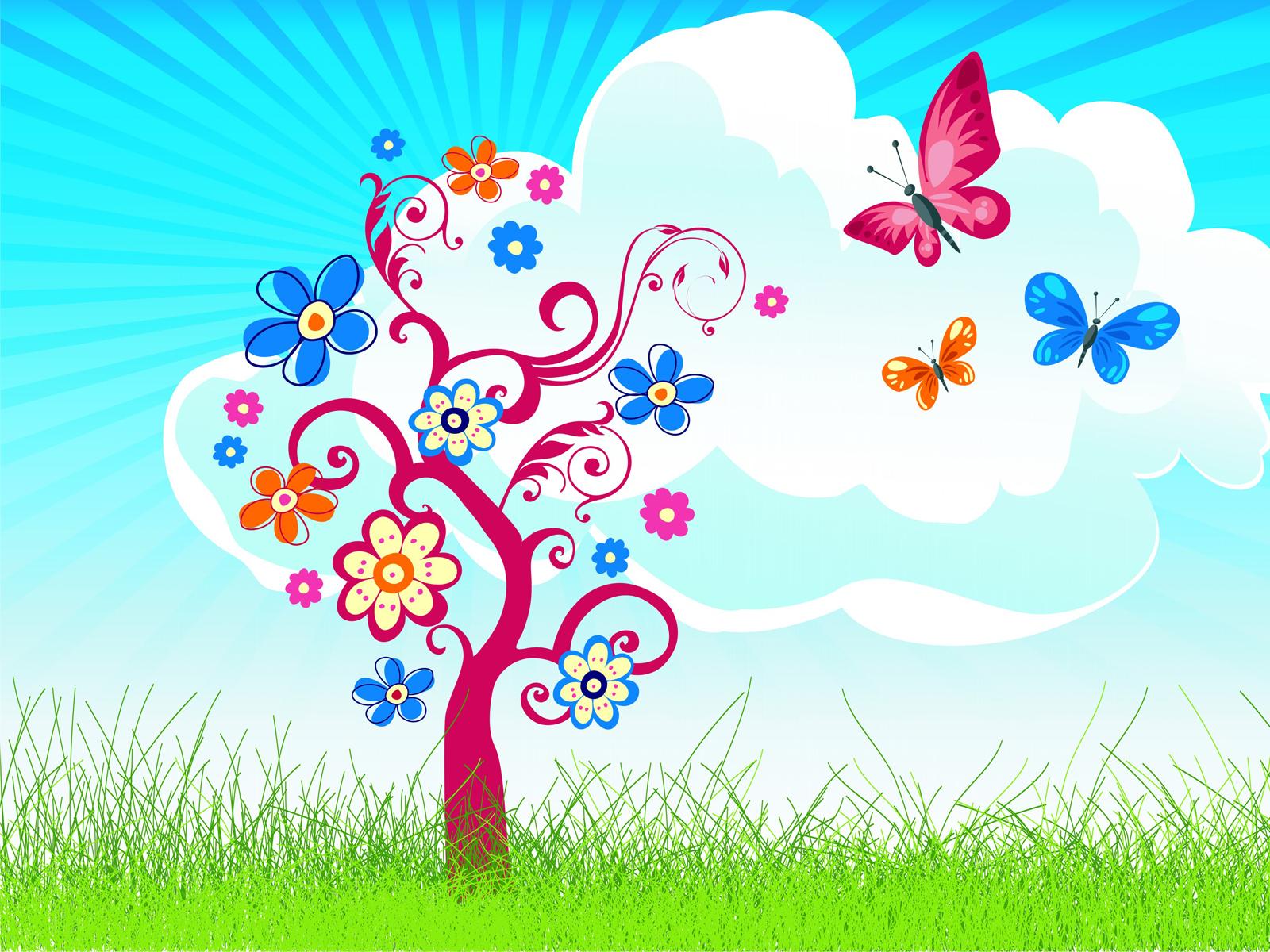 Joyful tree with butterfly PPT Backgrounds