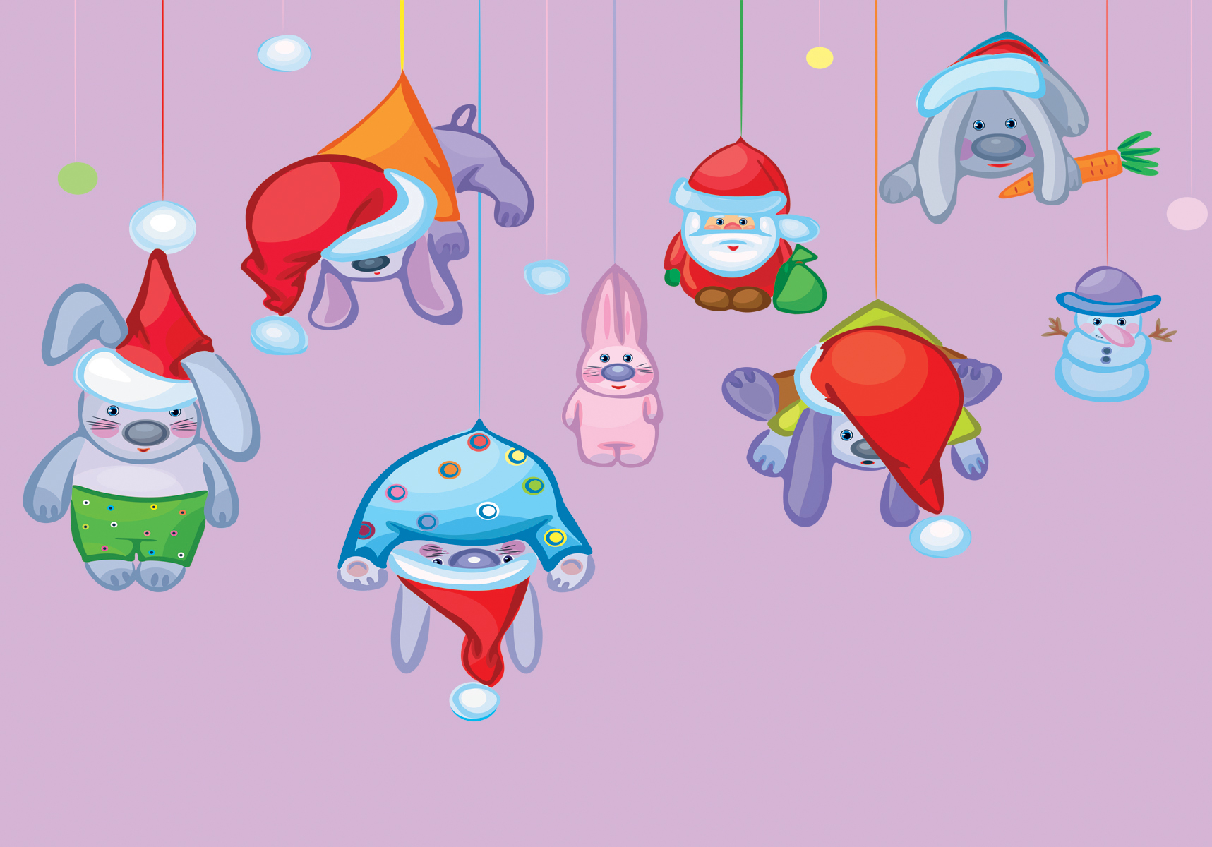 Santa claus and rabbits PPT Backgrounds