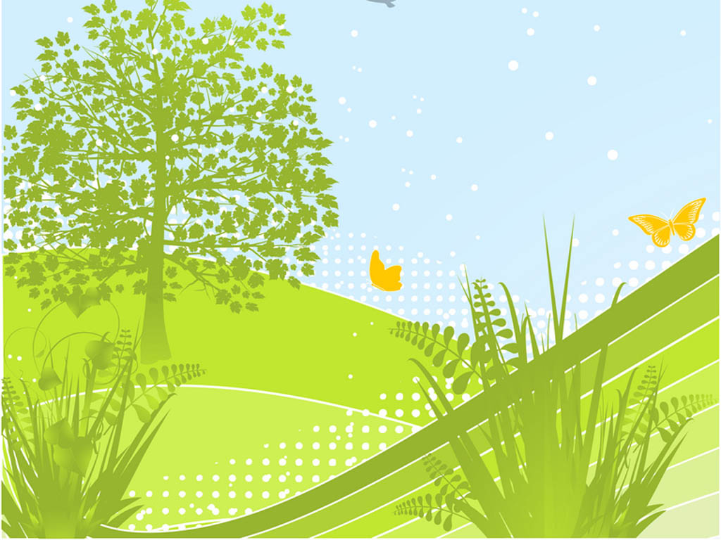 abstract spring landscape with green leafy tree, butterflies and birds PPT Backgrounds