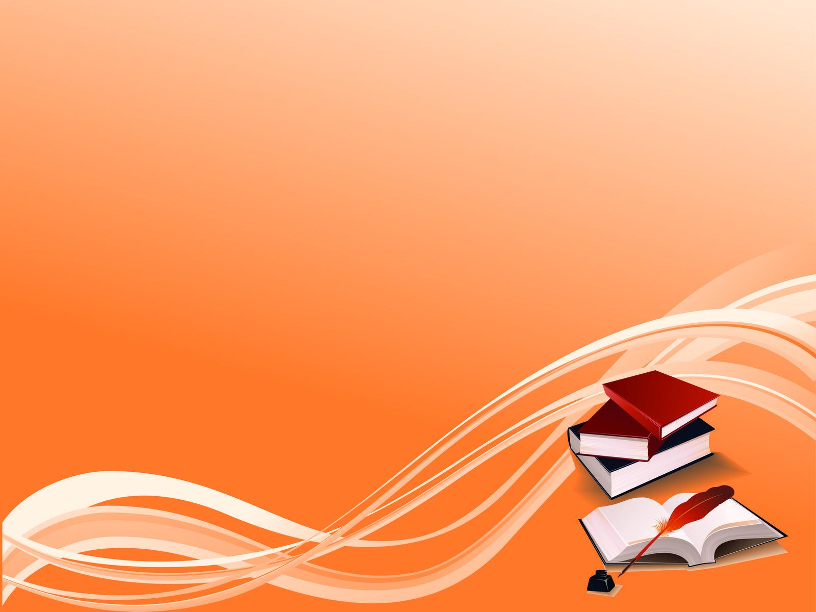 Books On Orange Bg PPT Backgrounds