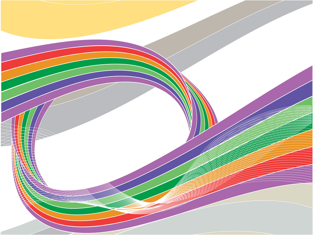 Coloured swirling ribbon with waves PPT Backgrounds