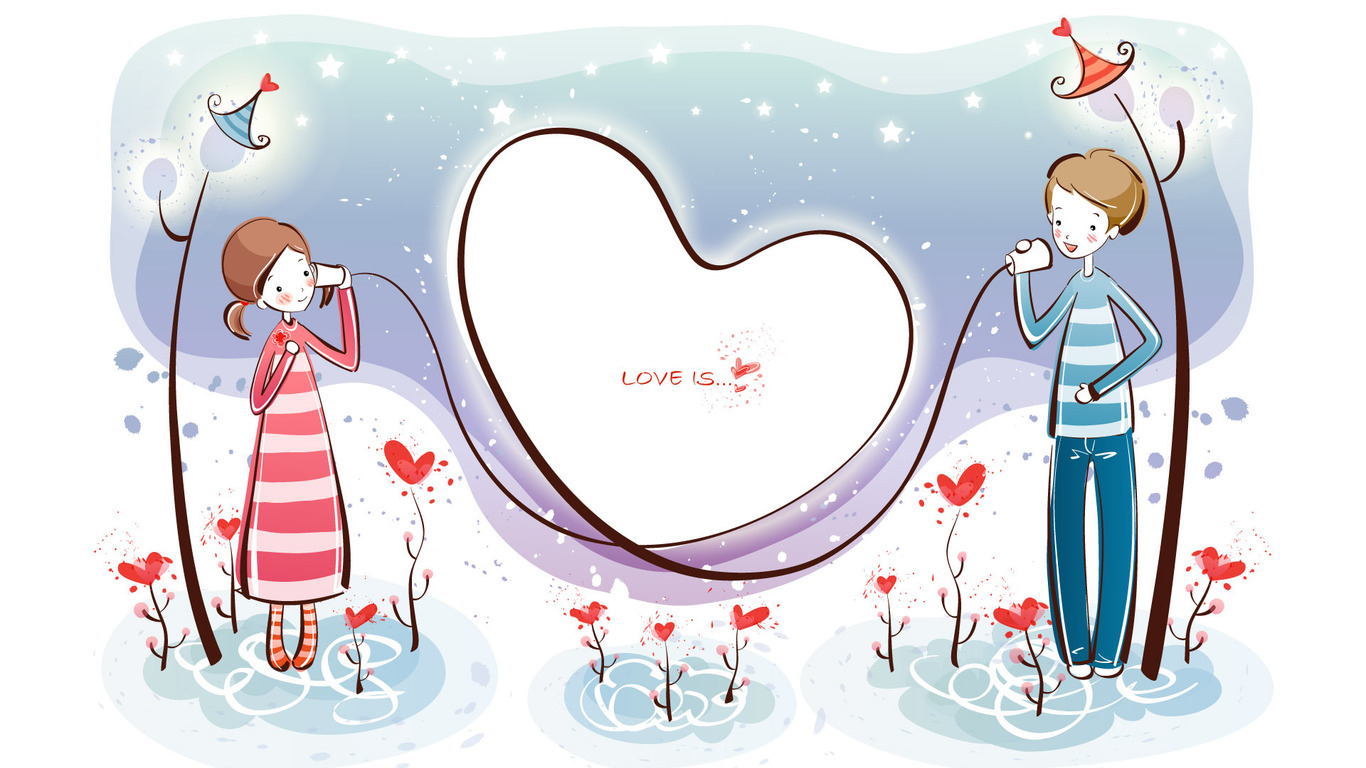 Girl and boy lovers PPT Backgrounds