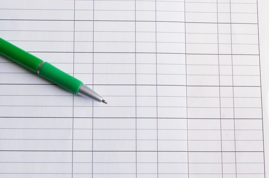 Green pen on white paper PPT Backgrounds