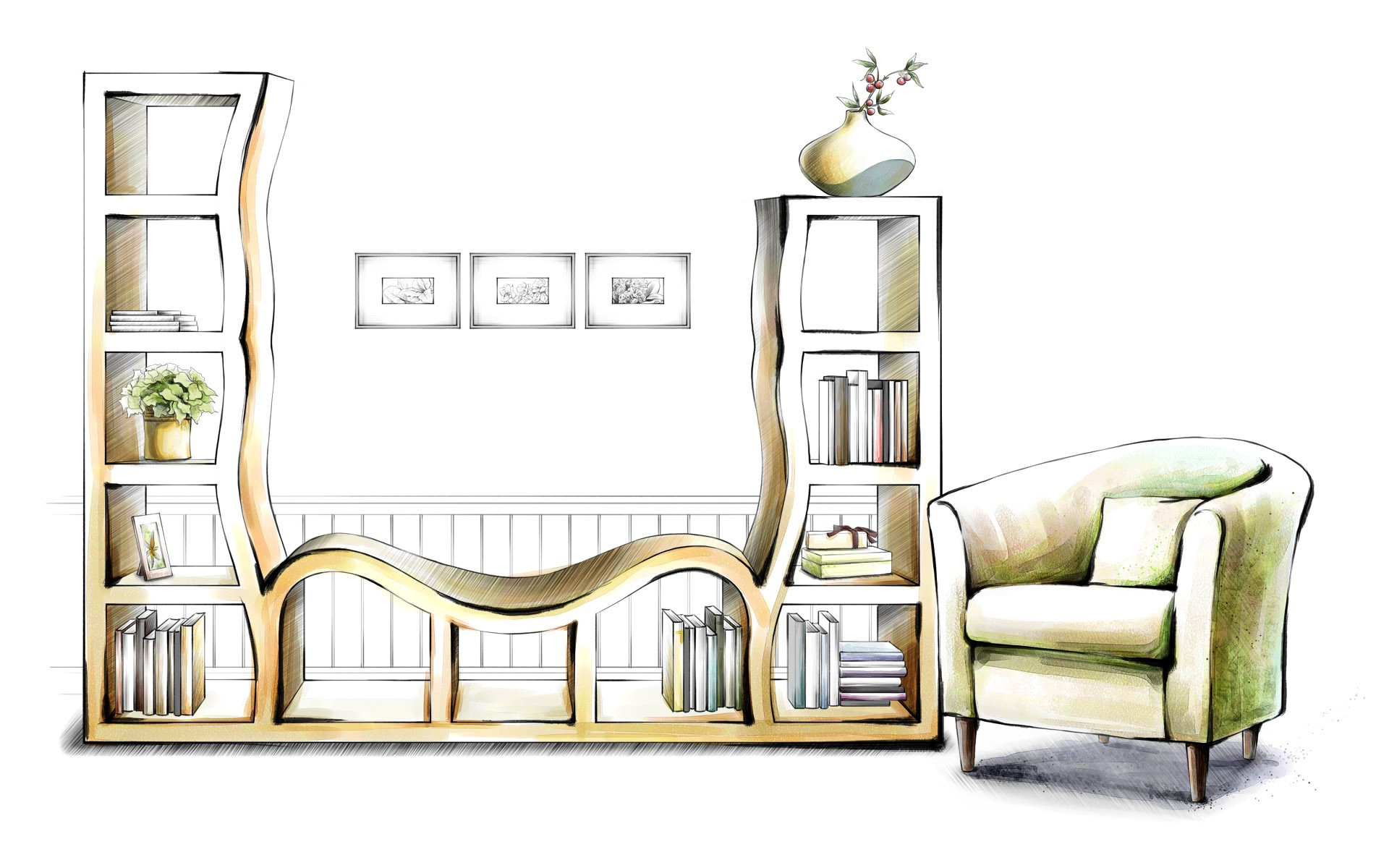 interior drawings design PPT Backgrounds