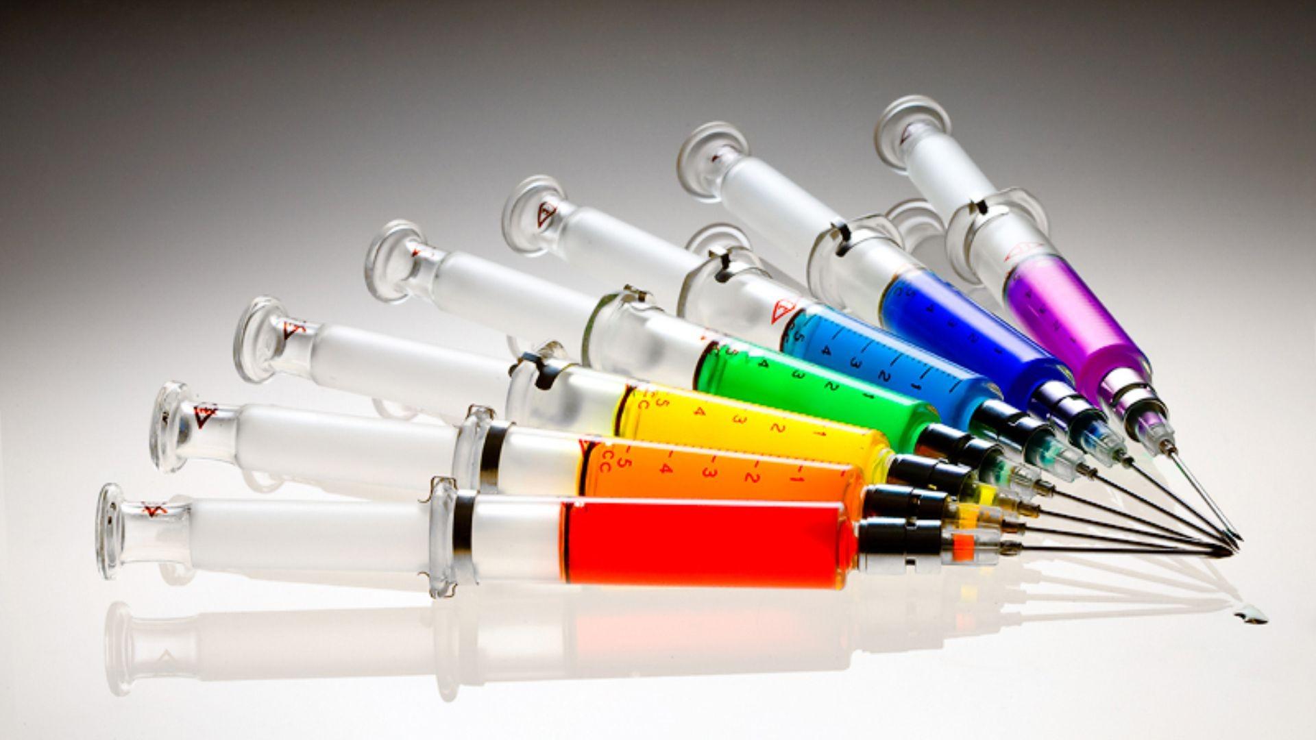 Needles spectrum syringe PPT Backgrounds