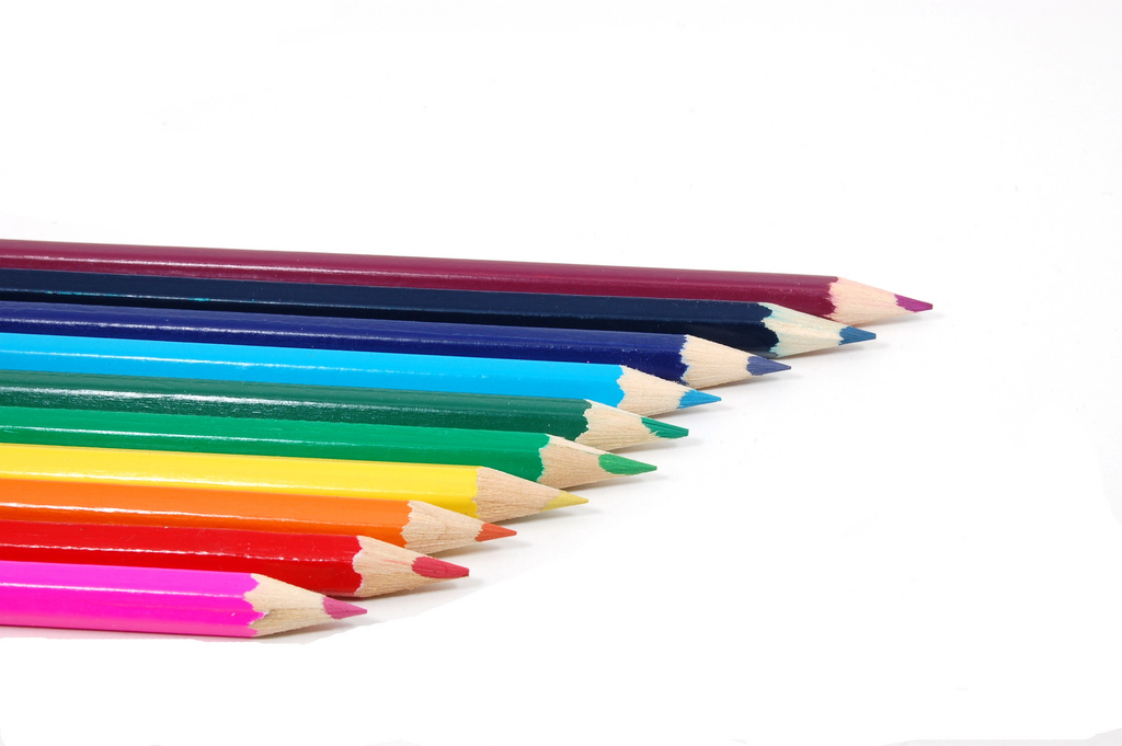 Some colorful crayons isolated PPT Backgrounds